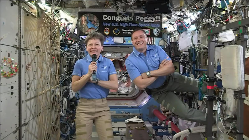 Peggy Whitson and Jack Fischer aboard the International Space Station.