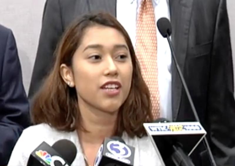 DACA recipient Yenimar Cortes addresses the media