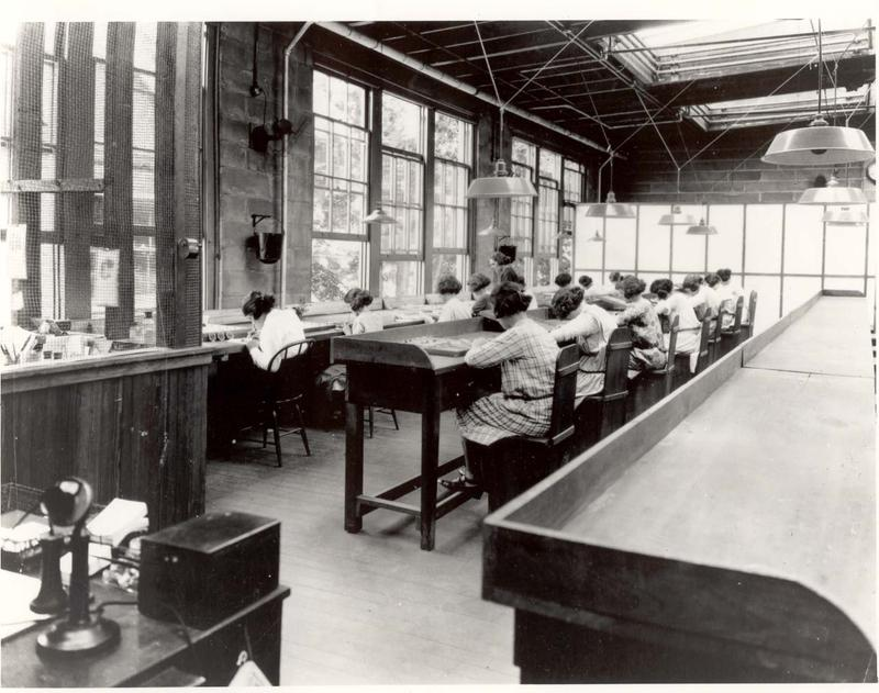 """Radium Girls"" at work at the United States Radium Corporation in Orange, New Jersey."