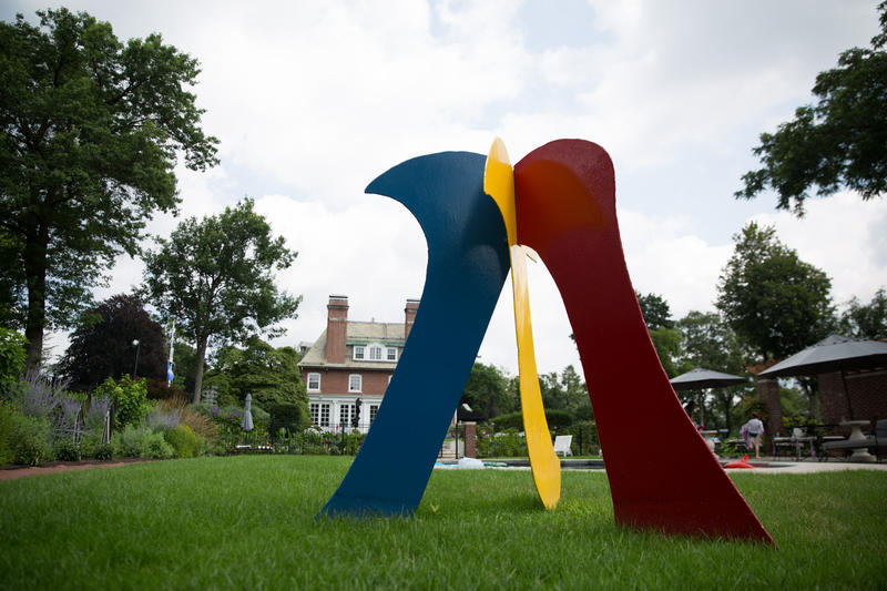 Several of David Hayes's pieces can be seen by the public in the sculpture garden on the grounds of the governor's mansion in Hartford.