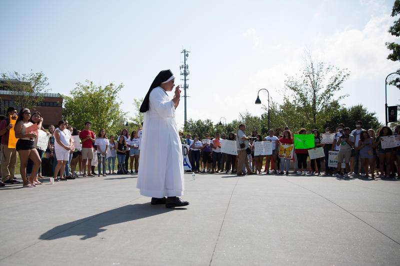 Sister Mary Jude Lazarus speaks during the rally on Tuesday, September 5, 2017.
