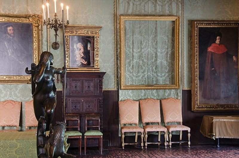 The empty frame of a stolen painting in the Isabella Stewart Gardner Museum.
