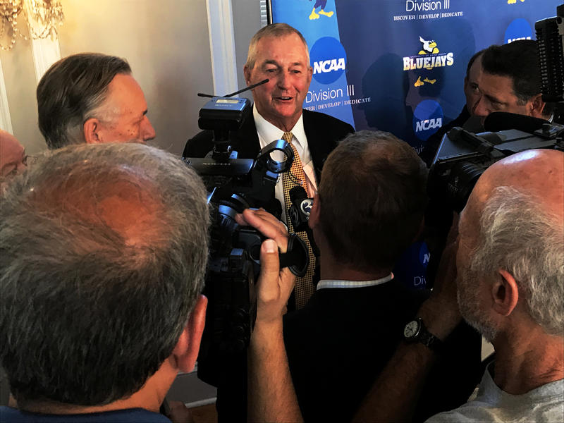 Jim Calhoun addressed reporters in front of fans at a news conference where he was introduced as consultant for University of Saint Joseph's Men's Basketball program.