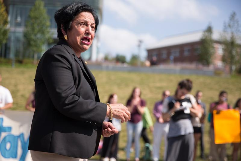 "Dr. Elsa Nunez, ECSU's president, at a rally on Tuesday, September 5, 2017. ""I didn't want today to happen,"" she said."