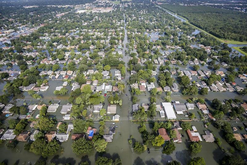 An aerial from shows extensive flooding in a residential area from Hurricane Harvey in Southeast Texas, Aug. 31, 2017.