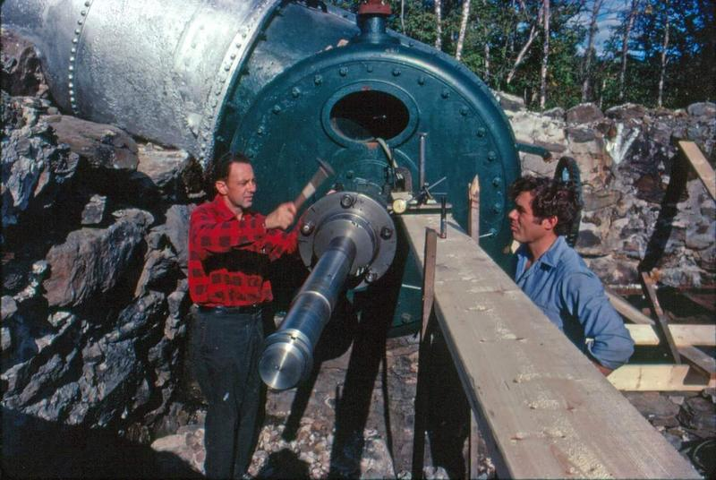 "Joe Sawyer (left) and Lawrence ""Larry"" Gleeson, co-designers of the original turbines on Mason's Dam."