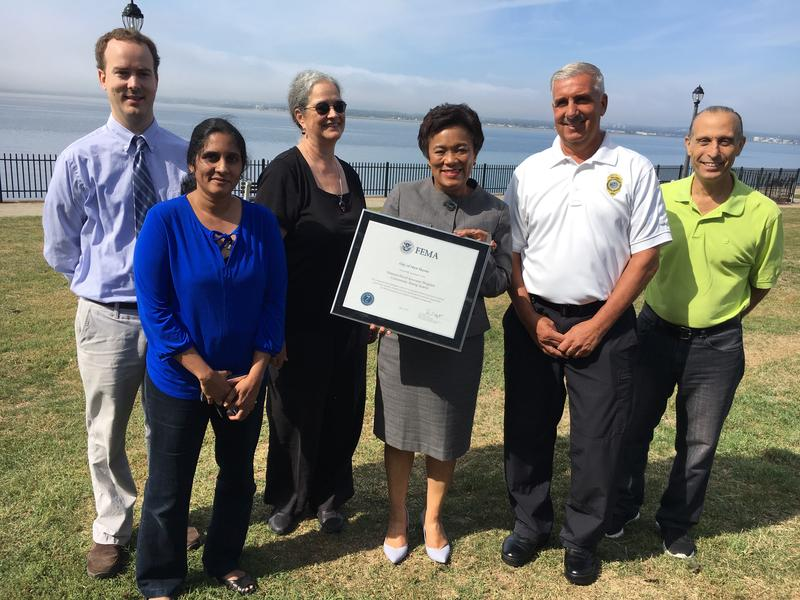 New Haven Mayor Toni Harp with city officials at Pardee Seawall Park