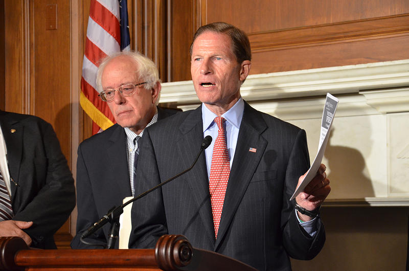 Sen. Richard Blumenthal (D-Conn.) and Sen. Bernie Sanders (I-VT) at a news conference in 2013.