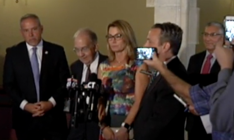 Leaders of both parties in the General Assembly address the media after talks Tuesday