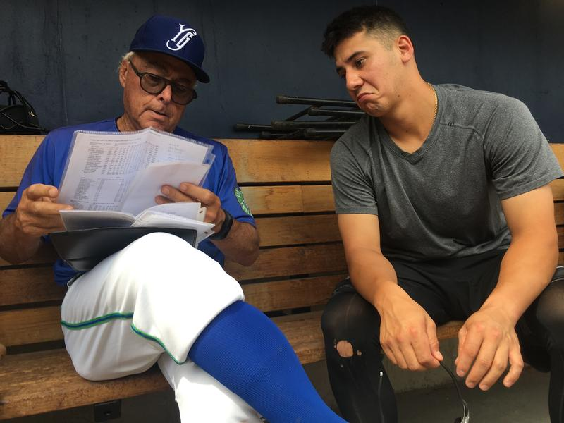 Yard Goats manager Jerry Weinstein and catcher Dom Nuñez go over the Altoona roster.