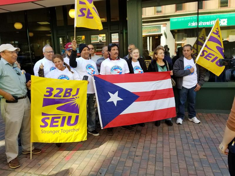 Labor organizations, impacted family members, and others gathered Wednesday on Asylum Street in Hartford to call attention to the need for more aid in Puerto Rico following the devestation of Hurricane Maria.