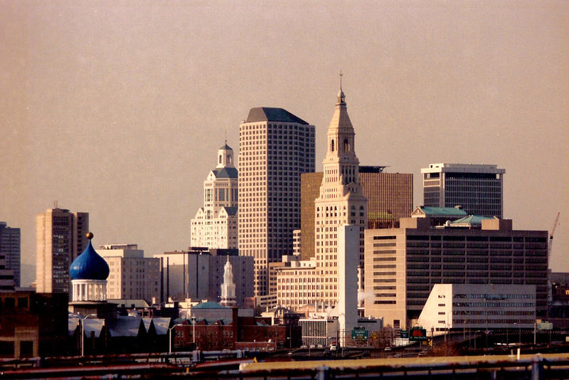 A view of the Hartford skyline. If you look to the lower left corner of the frame, to the blue onion-shaped dome of the Colt Armory, you'll see the area on which Dillon Stadium currently sits.