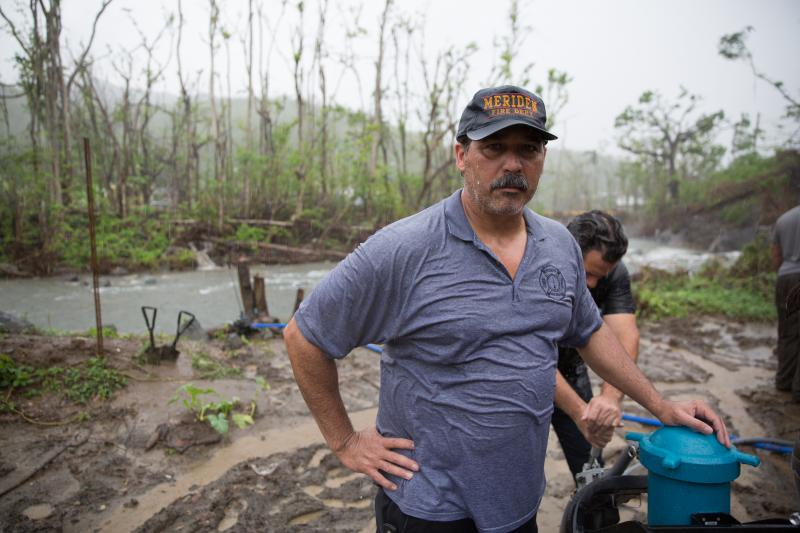 Danny Torres has worked for the fire department in Meriden, Connecticut for decades and has family across Puerto Rico.