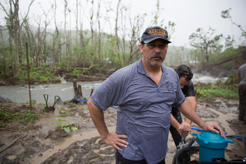 "Danny Torres has worked for the fire department in Meriden, Connecticut for decades. He's a member of the self-described Puerto Rican ""Water Dogs"" -- a group of volunteers and veterans that travelled the island giving the gift of clean water."