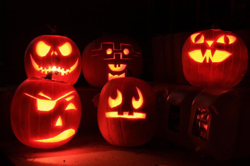 These jack-o'-lanterns are missing one thing: plants!