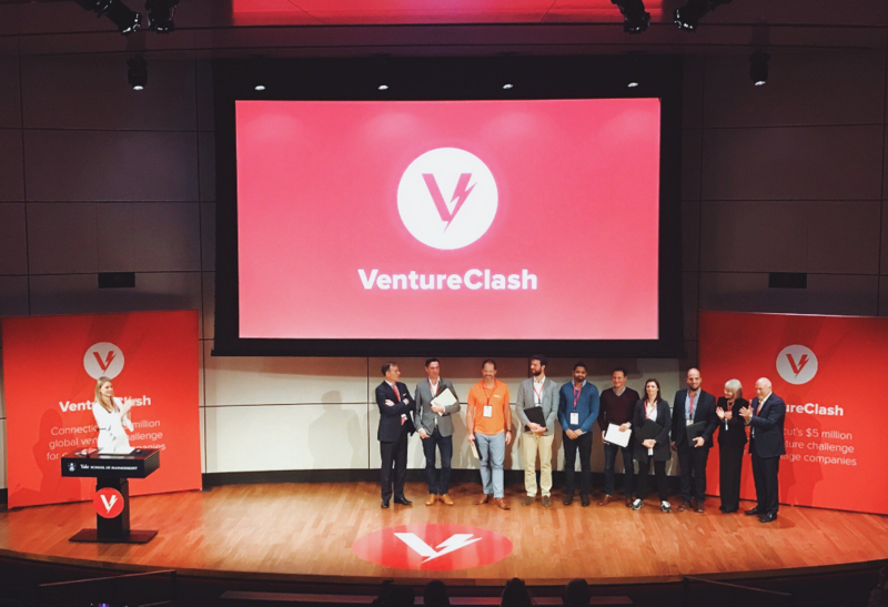 The VentureClash finalists on stage at Yale