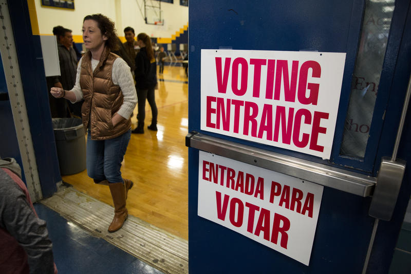 The polling place at John F. Kennedy High School in Waterbury, Connecticut.
