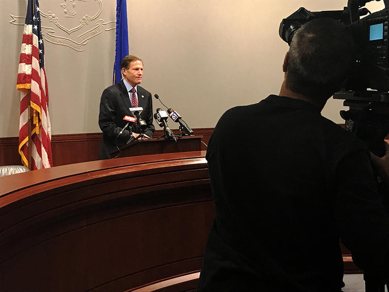 Sen. Richard Blumenthal (D-Conn.) spoke to reporters about gun violence at the Legislative Office Building in Hartford Monday.