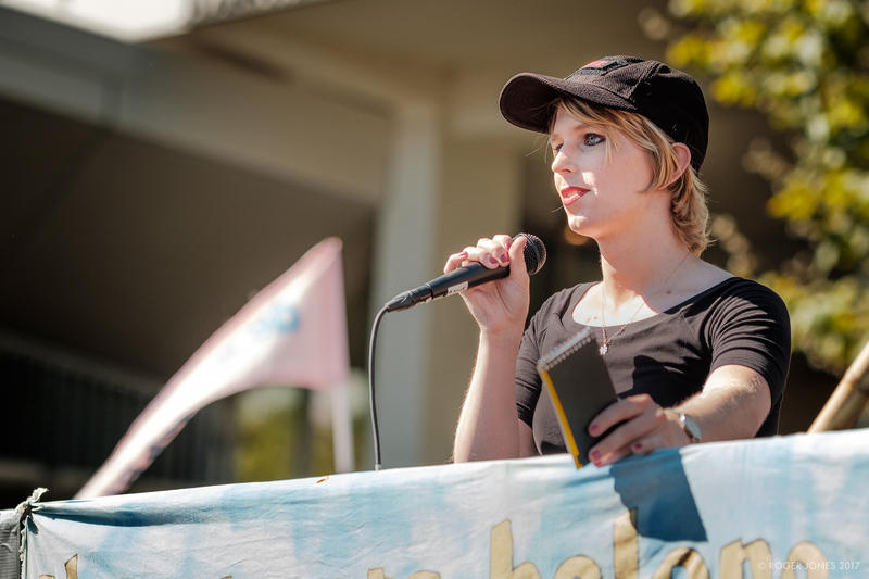 Chelsea Manning speaks to an anti-hate protest in Berkeley, California on September 23, 2017.