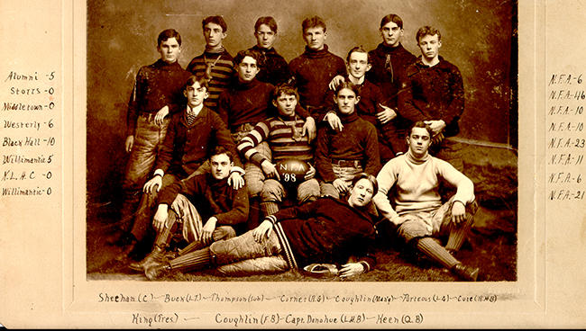 The 1898 Norwich Free Academy football team.