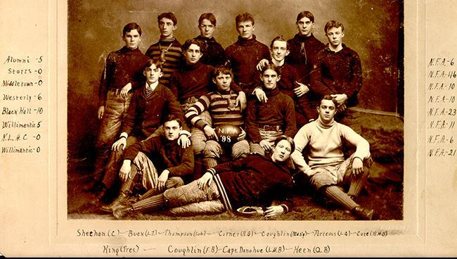The 1898 Norwich Free Academy football team.