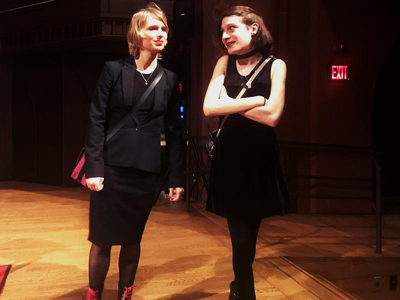 Chelsea Manning (left) talked in a moderated discussion for about an hour Wednesday night inside of Wesleyan's Memorial Chapel.