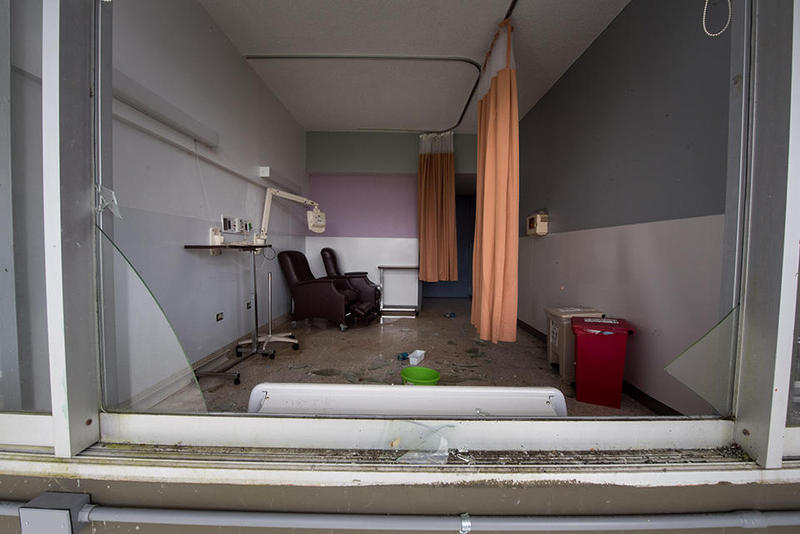 Damage to one of the patient rooms at Hospital Menonita de Caguas in Caguas, Puerto Rico.