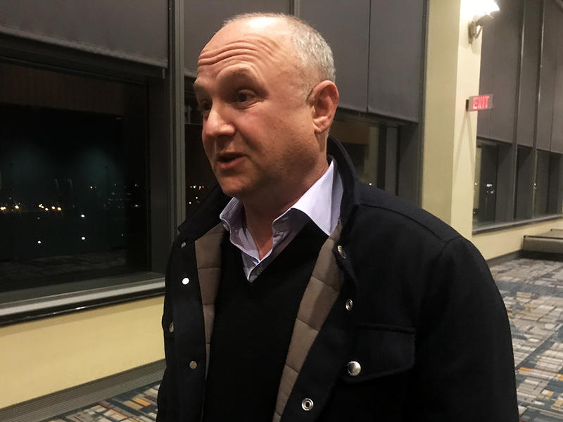 Bruce Mandell pictured at the Connecticut Convention Center in Hartford after he found out about CRDA's recommendation Thursday.
