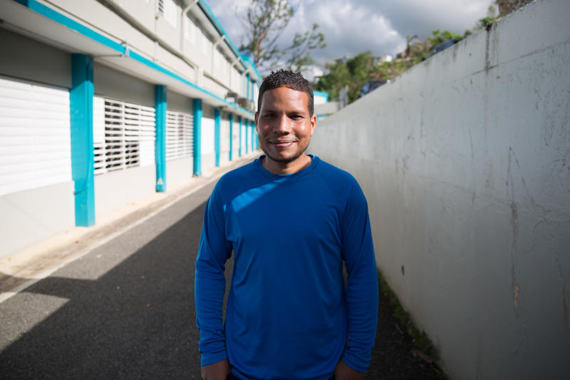 Giovanni Caballero Fuentes of Orocovis, Puerto Rico says he hopes his kids learn to deal with life without electricity, without water, and without technology.