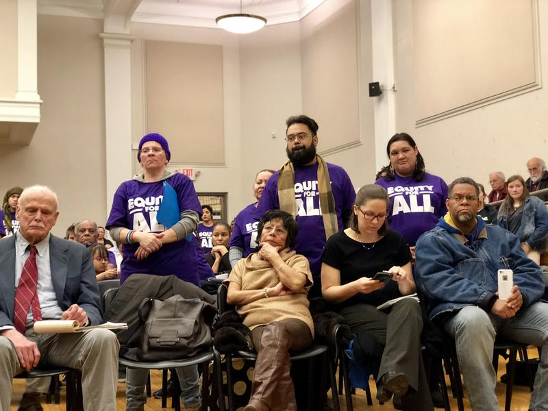 Spectactors at Tuesday's Hartford school board meeting in the Naylor School auditorium.