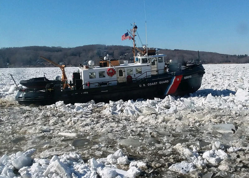 Two U.S. Coast Guard vessels are working to break up ice along the Connecticut River.