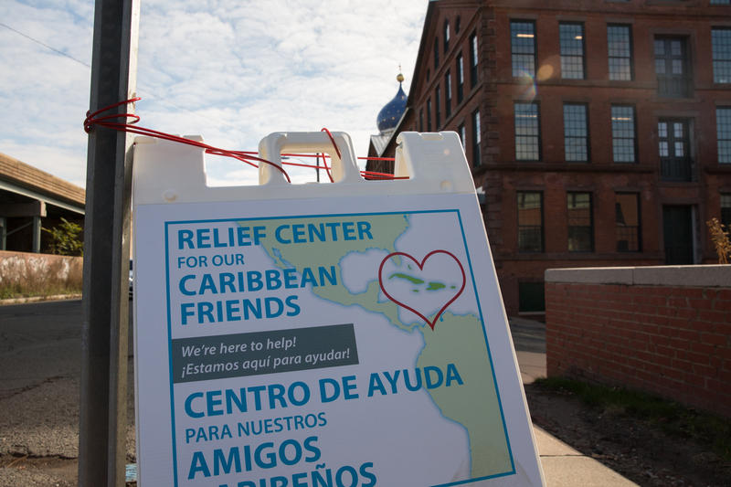 A sign outside the hurricane relief center in Hartford, Connecticut.