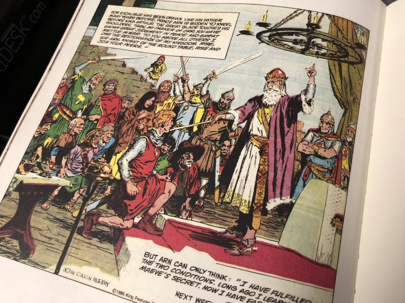 "A panel from a 1986 edition of ""Prince Valiant"" as drawn by John Cullen Murphy and printed in Cullen Murphy's book, ""Cartoon County"""