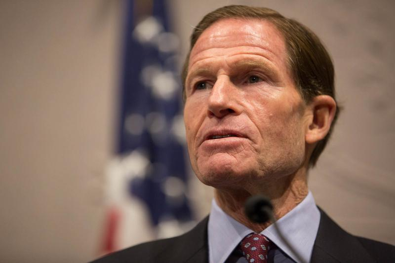 Sen. Richard Blumenthal speaking to reporters in Hartford on November 13, 2017.