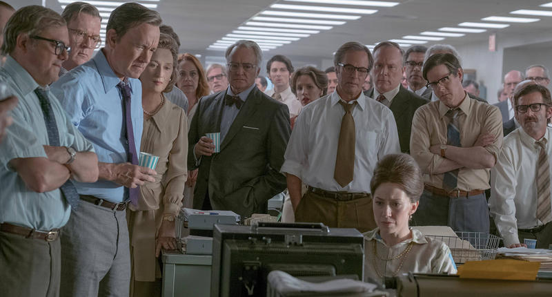 "The cast of Steven Spielberg's ""The Post."""