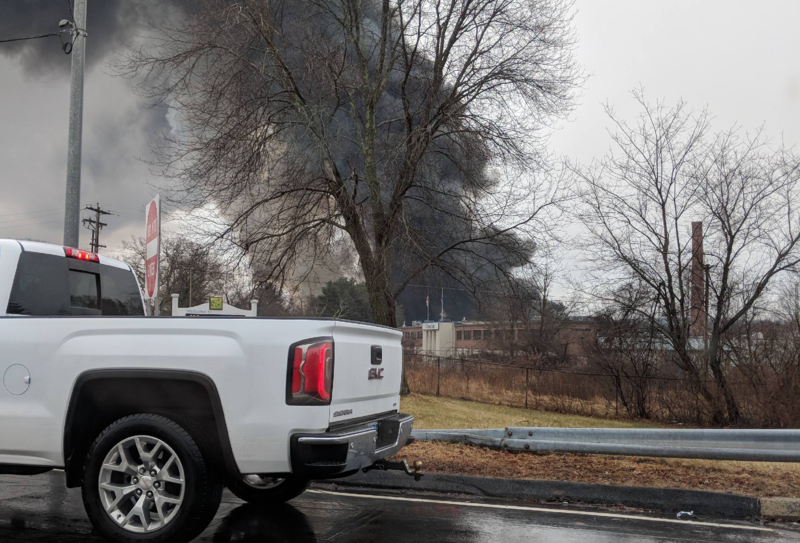 Smoke from the fire at the Willimantic Waste Paper Company could be seen by local television radar.