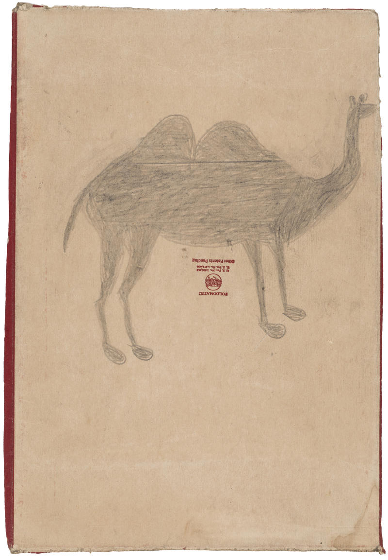 Bill Traylor, Camel, c. 1945. Graphite on cardboard. Wadsworth Atheneum Museum of Art, Bequest of Edward Gorey, 2001.13.68.