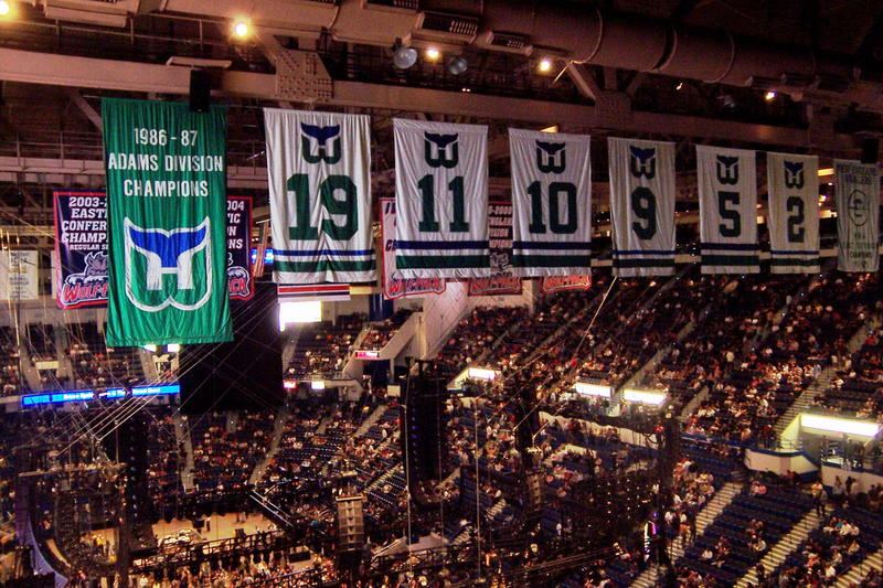 Hartford Whalers banners still hang in the XL Center.