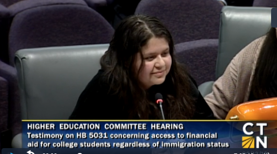 16-year-old Hazel Mencos from New Haven testifies at the capitol