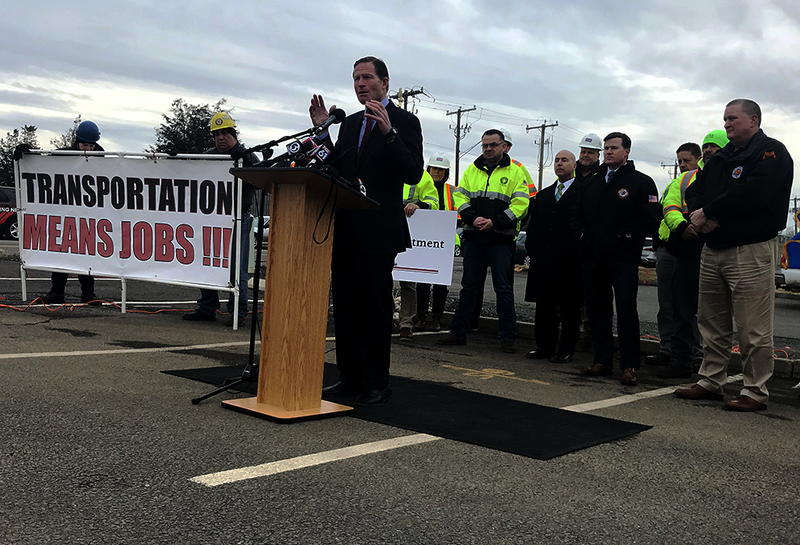 Sen. Richard Blumenthal talked about infrastructure Monday in front of workers at an active construction site in Hartford.