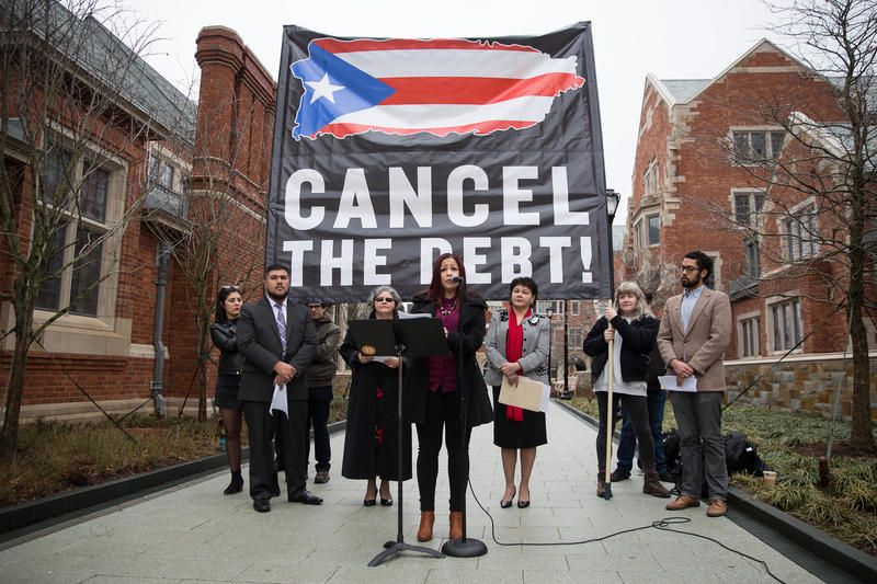 Jasanea Hernandez speaks at a press conference where a local activists and elected officials called for Yale University to cancel its investments in Puerto Rican debt.