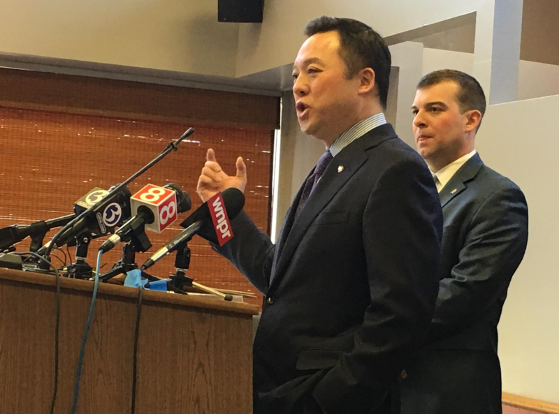 State Rep. William Tong spoke to reporters Monday ahead of the start of the legislative session.