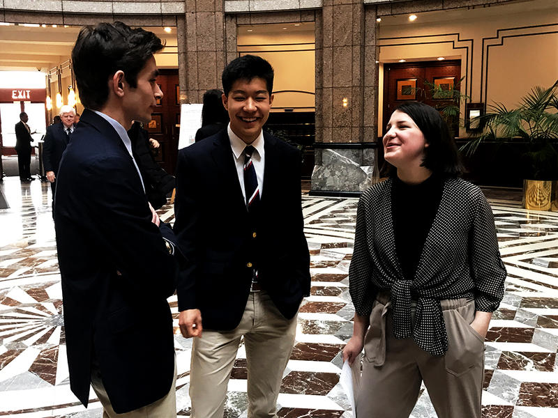 Students from Ridgefield High School, Lane Murdock (right), Paul Kim (center), and Max Cumming (left), visited Hartford on February 23 to discuss '#nationalwalkout' in response to gun violence.