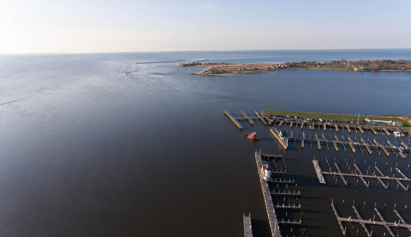 The Connecticut River where it meets Long Island Sound in Old Saybrook, Connecticut, on April 13, 2017.