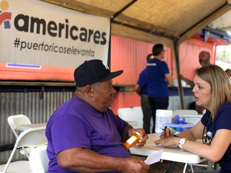 A patient receives care at an Americares mobile clinic in Vieques, Puerto Rico, in February.