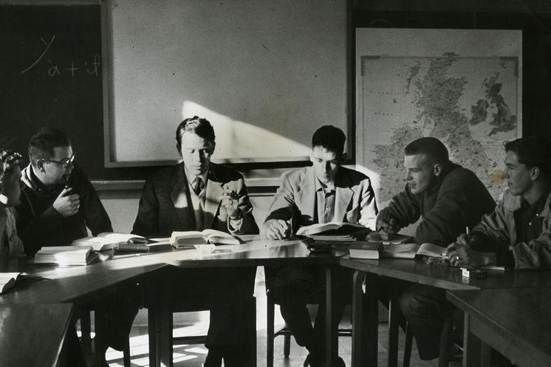 Richard Wilbur (third from left) at Wesleyan