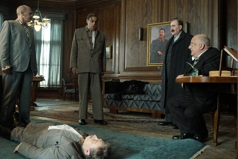 "Steve Buscemi, Jeffrey Tambor, Adrian McLoughlin, Dermot Crowley, and Simon Russell Beale in ""The Death of Stalin."""