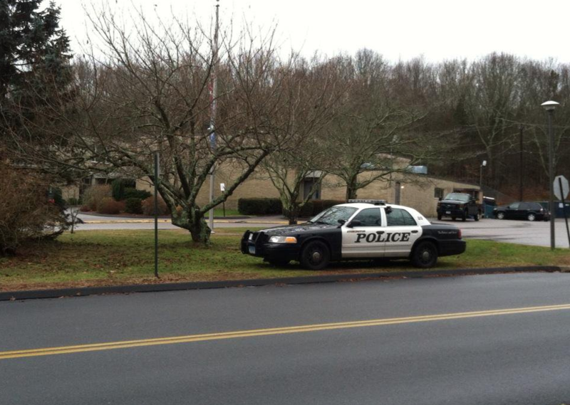 Police outside Deans Mill School in Stonington, Connecticut after the 2012 Sandy Hook Elementary School shooting.