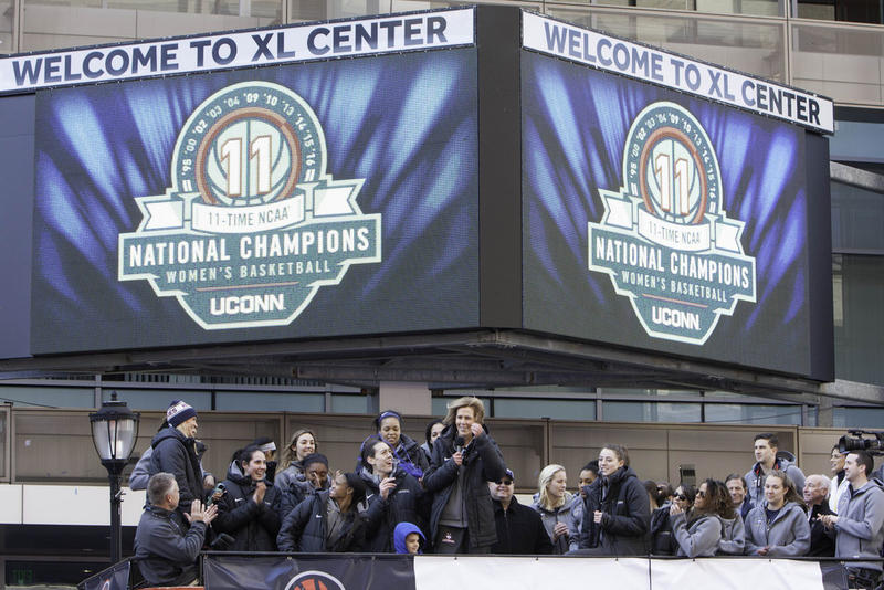 The UConn women celebrate their 2016 championship