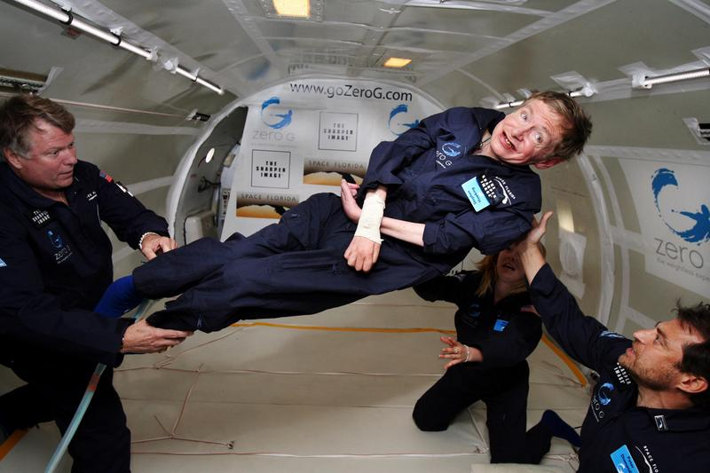 Stephen Hawking during his 2007 weightless flight.